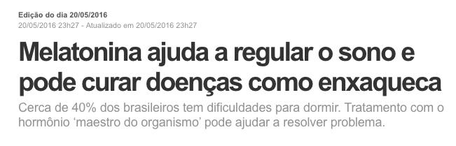 Melatonina - Globo Repórter