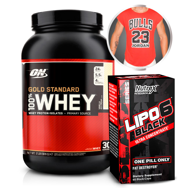 Combo - Lipo 6 Black Ultra Concentrado 60 Capsulas Nutrex + 100% Whey Gold Standard 907g Optimum Nutrition + Camiseta Strong