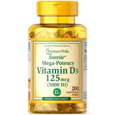 Vitamina D3 5,000 IU (100 softgels) - Puritan's Pride