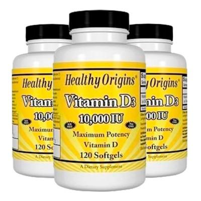 Combo: 3un Vitamina D3 10.000 IU (120 softgels) - Healthy Origins