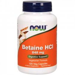 Betaine HCI 648mg (120 cápsulas) - Now Foods