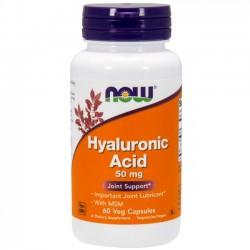 Ácido Hialurônico 50mg MSM (60 cápsulas) - Now Foods