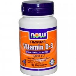 Vitamina D-3 1,000 IU - Now Foods-180chewables