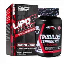Combo: Tribulus Terrestris 1,500mg - Pro Size + Lipo 6 Black - Nutrex