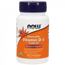 Vitamin D-3 5000 IU (120 Softgels) - Now Foods