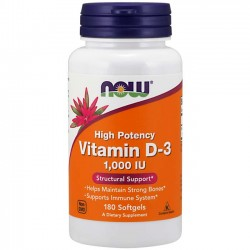 Vitamina D-3 1000IU (180 softgels) Now Foods