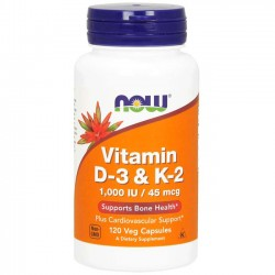 Vitamina D3 + K2 (120 cápsulas) - Now Foods