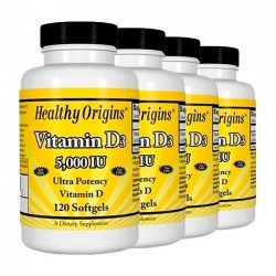 Combo: 4un Vitamina D3 5000UI (120 softgels) - Healthy Origins