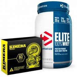 Combo - Elite 100% Whey Protein 2lbs (907g) Dymatize Nutrition + Kimera 60 Cápsulas Iridium Labs