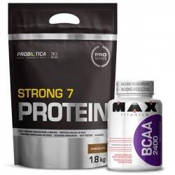 Combo - Strong 7 Protein 1,8kg Probiótica + BCAA 2400 Max Titanium 100 cápsulas
